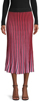 525 America Striped Pleated Skirt