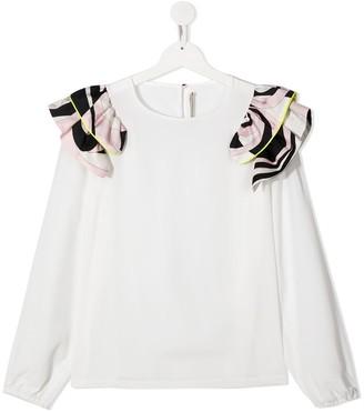Emilio Pucci Junior TEEN graphic print ruffle shoulder blouse