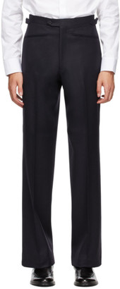 Husbands Navy Wide-Leg Tapered Trousers