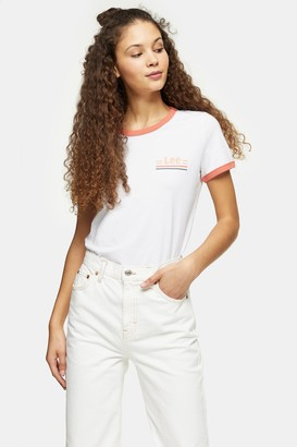Lee Womens Orange And White Ringer T-Shirt By White