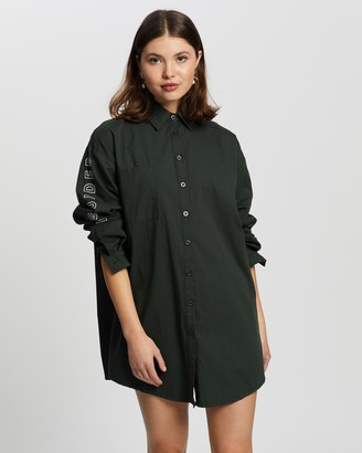 Missguided Women's Green Mini Dresses - Oversized Shirt Dress - Size 10 at The Iconic