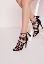 Missguided Ultra Strappy Lace Up Gladiator Sandals Black