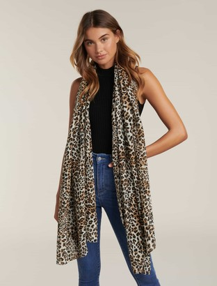 Ever New Edie Leopard Print Pleated Scarf