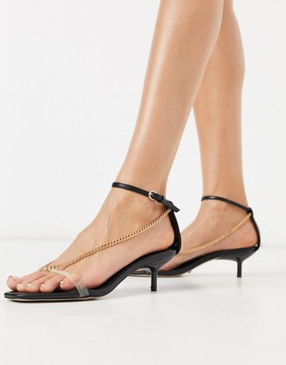Topshop chain detail heeled sandal in black