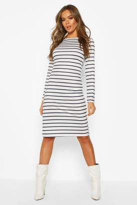 boohoo Stripe Long Sleeve Split Midi T-shirt Dress