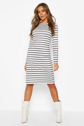 boohoo Stripe Long Sleeve Split Midi T-shirt Dress
