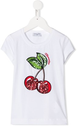 MonnaLisa short sleeve cherry embellished T-shirt