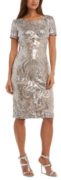 R & M Richards Petite Sequin V-Back Dress