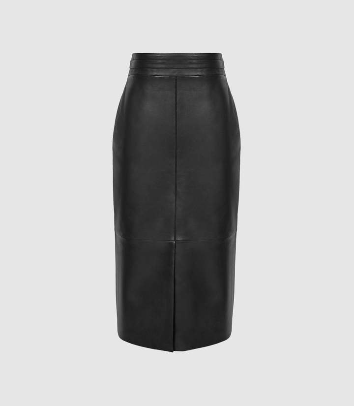 dd7f215ff Leather Skirt Exposed Zip - ShopStyle UK