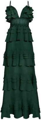 True Decadence Forest Green Tiered Ruffle Maxi Dress