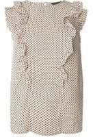 Dorothy Perkins Womens Pink Spot Ruffle Sleeveless Top