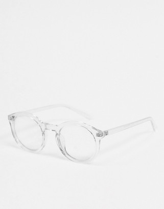 Burton Menswear round glasses with clear lens