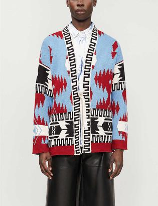 Alanui Icon geometric-patterned cotton-knit cardigan