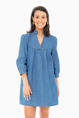 Americana Chambray Ruffle Neck Dress