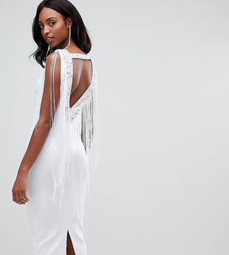 Asos Tall DESIGN Tall Embellished Scuba Fringe Back Midi Bodycon Dress-White