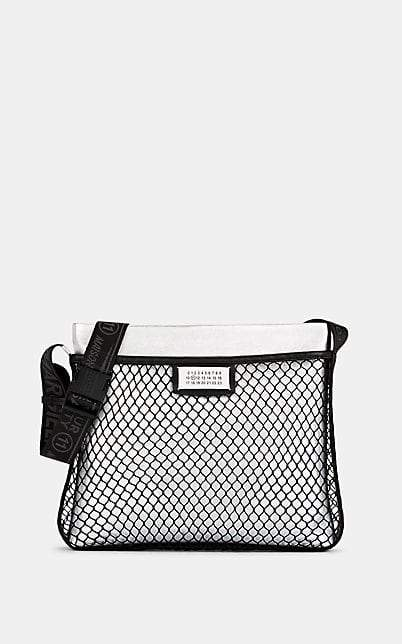 Maison Margiela Women's Fishnet & Leather Crossbody Bag - Silver
