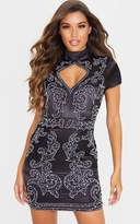 PrettyLittleThing Black Satin Embellished Cut Out Short Sleeve Bodycon Dress