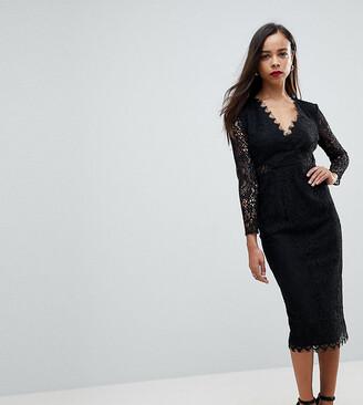 Asos Long Sleeve Lace Midi Pencil Dress-Black