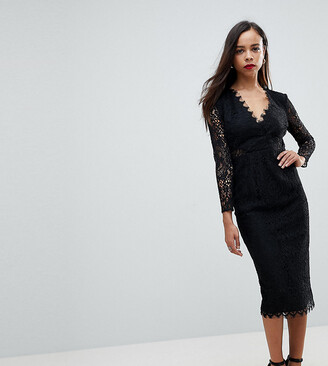 ASOS Long Sleeve Lace Midi Pencil Dress