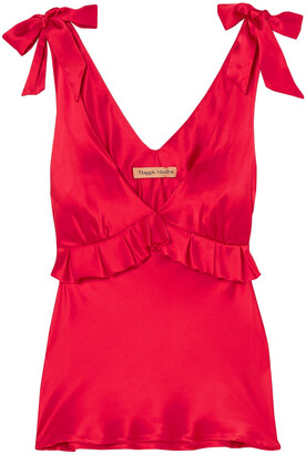 Maggie Marilyn Bow-detailed Ruffled Silk-satin Camisole