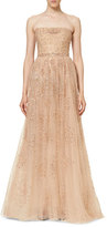 Carolina Herrera Star-Embellished Strapless Gown, Nude