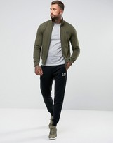Ea7 Cotton Zip Through Tracksuit Set In Khaki And Black