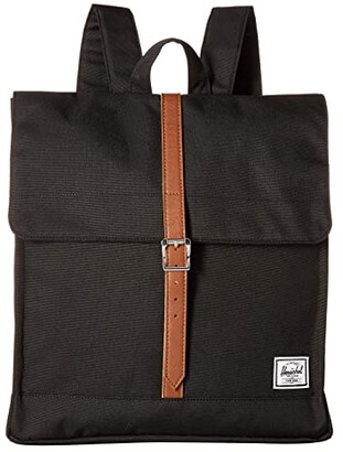 Herschel City Mid-Volume (Black/Tan Synthetic Leather) Backpack Bags