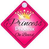 mybabyonboard UK Princess Phoenix On Board Personalised Girl Car Sign Baby / Child Gift 001