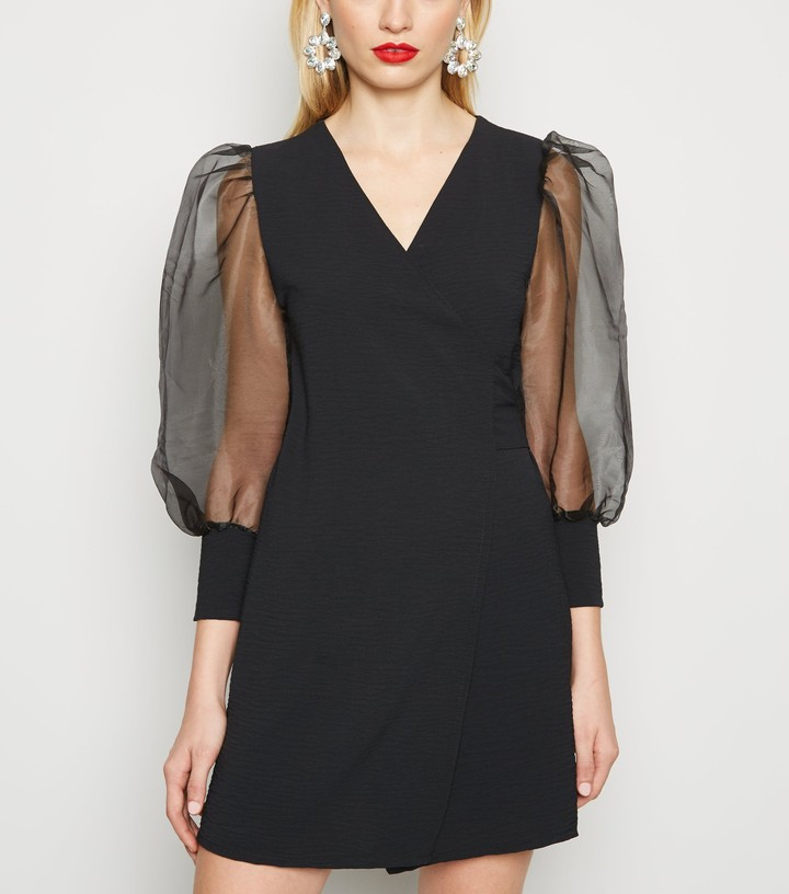 New Look Urban Bliss Organza Sleeve Wrap Dress