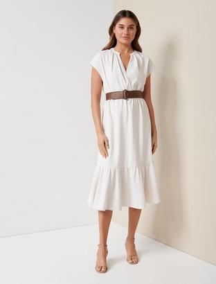 Forever New Lola Belted Midi Dress - Ivory - 10