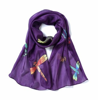 Invisible World Women's 100% Mulberry Silk Scarf Hand Painted Dragonfly Long for Neck Hair or Head - Eggplant Colour