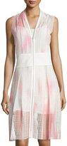 T Tahari Sleeveless Dip-Dye Eyelet Dress, White/Pink