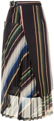 Toga Striped Panelled Pleated Skrit