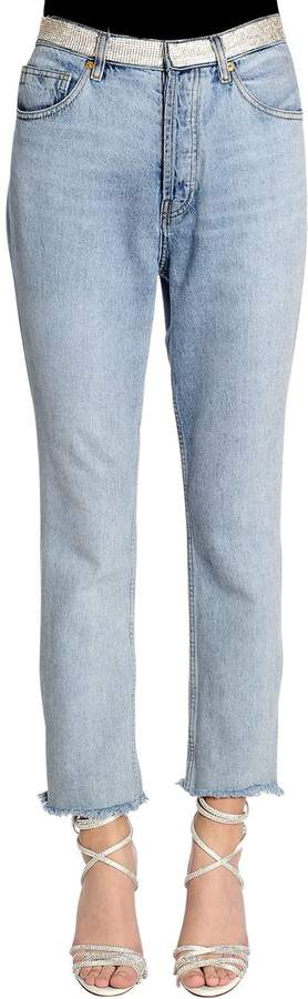 Alexandre Vauthier Crystal Waistband Washed Denim Jeans