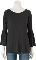 Lauren Conrad Women's Solid Bell Sleeve Top