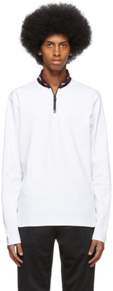 HUGO BOSS White Doder Half-Zip Sweater