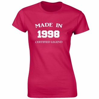 JLB Print Made in 1998 Novelty Premium Quality Fitted T-Shirt Top for Women and Teens - Pink / 8-10