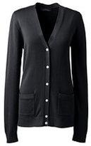 Lands' End Women's Cotton Modal V-neck Cardigan Sweater-Winter Harbor Stripe
