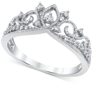 Macy's Diamond Crown Ring (1/5 ct. t.w.) in 14k White Gold