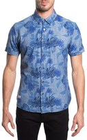 7 Diamonds Men's 'Guilded' Print Short Sleeve Chambray Shirt