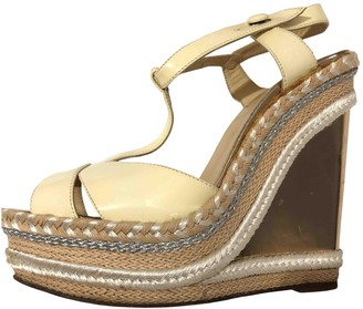 Christian Louboutin Cataclou Gold Patent leather Sandals
