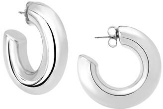 Janis Savitt High Polish Medium Hoop Rhodium Plated Earrings