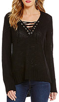 I.N. San Francisco Lace-Up V-Neckline High-Low Sweater