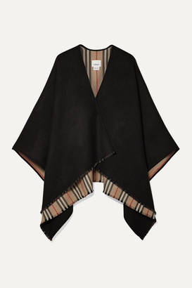 Burberry Reversible Striped Wool Wrap - Black