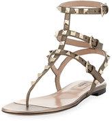 Valentino Garavani Rockstud Flat Leather Thong Sandal, Sasso