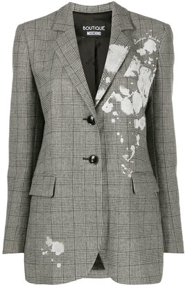 Boutique Moschino Checked Floral Print Blazer
