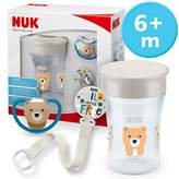 NUK Magic Cup & Set, Magic Cup Cup, Space Dummy & Dummy Chain, 6+ Months, BPA Free, Bear/Grey