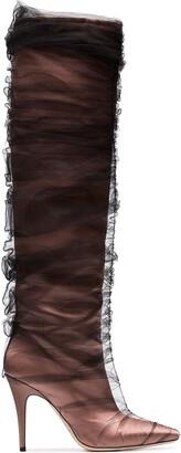 Off-White C/O Jimmy Choo Black Elisabeth 100 Tulle Wrapped Satin Boots