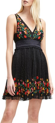 French Connection Amity Lace Embroidered Dress, Black