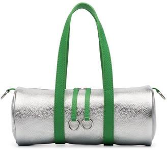 Simon Miller metallic silver and green Mini Tool kit leather holdall
